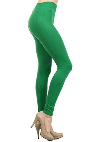 - ICONOFLASH Women's Seamless Solid Color Nylon Legging (Kelly Green)