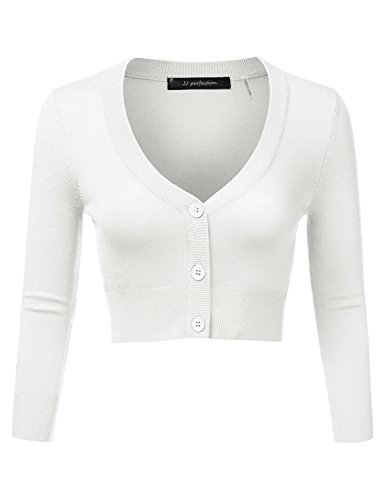 JJ Perfection Women's Solid Woven Button Down 3/4 Sleeve Cropped Cardigan WHITE S