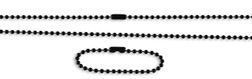 Ball Chain Necklace Set for Dog Tags- Made in USA- Military Issue (Black) ()