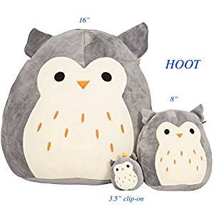 Kellytoy Squishmallow 16'' Hoot The Gray Owl Super Soft Plush Toy Pillow Animal Pet Pal Buddy