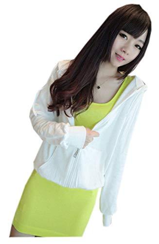 Blouson Femme Capuchon clair Unie Blanc Couleur Costume Automne Dsinvolte Fermeture Outerwear Printemps Confort Longues Manteau Veste Manches Capuche Gaine Mode A A Elgante Doux Capuche rFqHrg