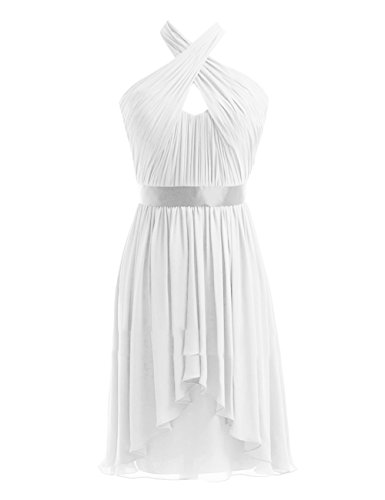 Black Kleider Fanciest Halter Chiffon Damen Ivory Wedding Party Kurz Brautjungferkleider wxSw7Cpq8