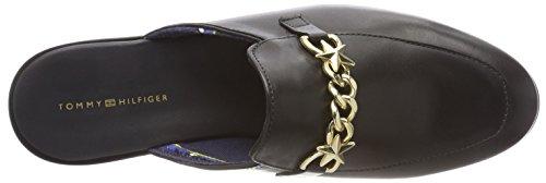 Donna Mocassini On Black Chain Hilfiger 990 Tommy Feminine Loafer Nero Slip wYBxaw7n0