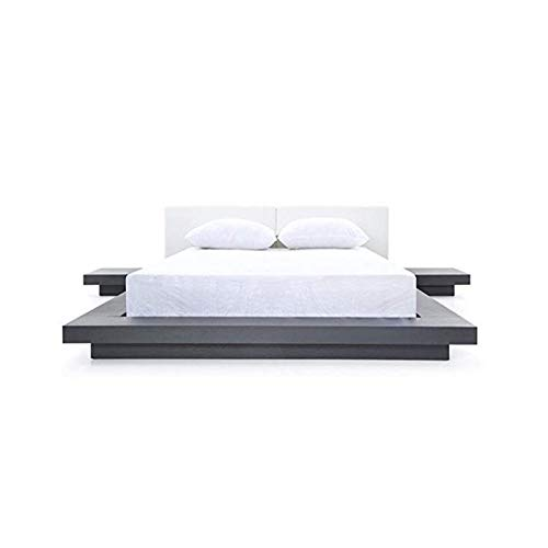 Wenge Platform Modern (Touyok Caddy Eastern King Bed, Wenge/White)