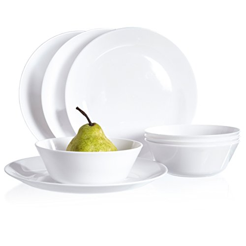 Everest Plastic Dinnerware Plate and Bowl | 8-piece Set White