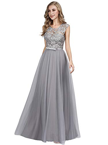 Ever-Pretty Women's A-Line Sweetheart Illusion Sleeveless Floral Lace Formal Dress Gray US8