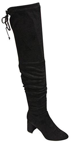 Breckelles Vanesa-36 Dames Amandel Teen Dikke Hak Slouchy Stropdas Opening Fluweel Overknee Laarzen Zwart