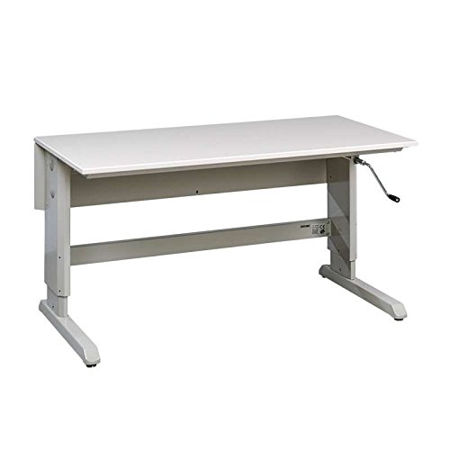 ESD-Safe Concept Series Hand Crank Work Table Frame with ESD Grey Laminate Work Surface, 72