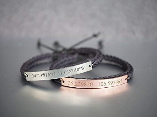 Custom Coordinates Bracelet Set for Couples, Thin Silver and Rose Gold Woven Cord Band Adjustable, Valentine's Day Gift His Her