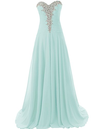JAEDEN Prom Dresses Long Formal Evening Gowns Chiffon Prom Dress Strapless Evening Dress Aqua