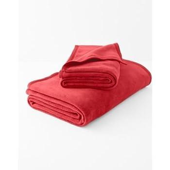 Amazon Com Garnet Hill Cotton Fleece Blanket And Throw