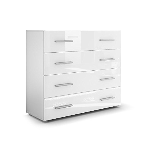 Vladon Chest Drawers Cabinet Pavos, Carcass In White Matt