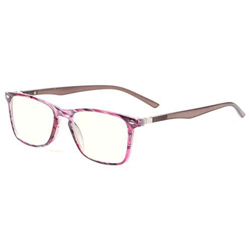 (Computer Reading Glasses Blue Light Blocking Readers Men and Women Glasses of Reading (Purple Stripe, 1.5))