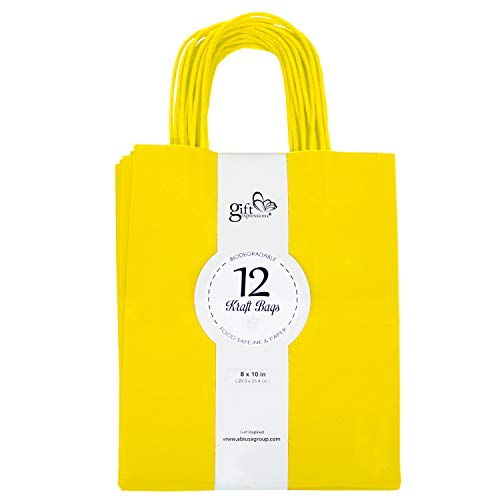 12CT Medium Yellow Biodegradable, Food Safe Ink & Paper, Premium Quality Paper (Sturdy & Thicker), Kraft Bag with Colored Sturdy -