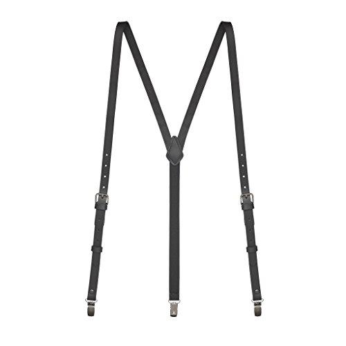 SuspenderStore Men's Buckle Strap 5/8 Inch Wide Leather Clip Suspenders - BLACK ()
