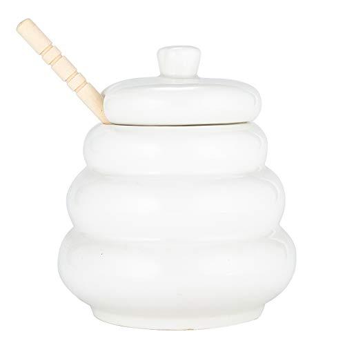 Xena Cute Elegant Ceramic White Beehive Honey Pot with Wooden Honeycomb Dipper Spoon, 4 x 4.5 Inch Home Kitchen Decor Farmhouse Accessory (Honey Pot Porcelain)