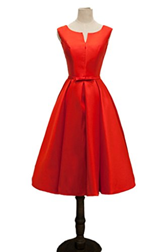 Dress Jewel Simple Party Satin up Dress Sleeveless Bridesmaid Lace Red Avril awdqta