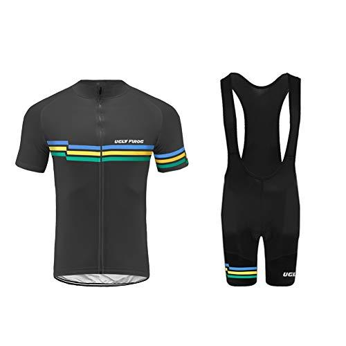 Uglyfrog Men Short Sleeve Cycling Jersey Kit Suits Bike/Racing/MTB/Triathlon Clothing Cycling Bib Shorts with Gel Padded UKH19DJ01 from Uglyfrog