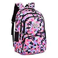 Geometric Prints Primary School Student Satchel Backpack For Girls Boys Waterproof Preppy Schoolbag (Black-A)