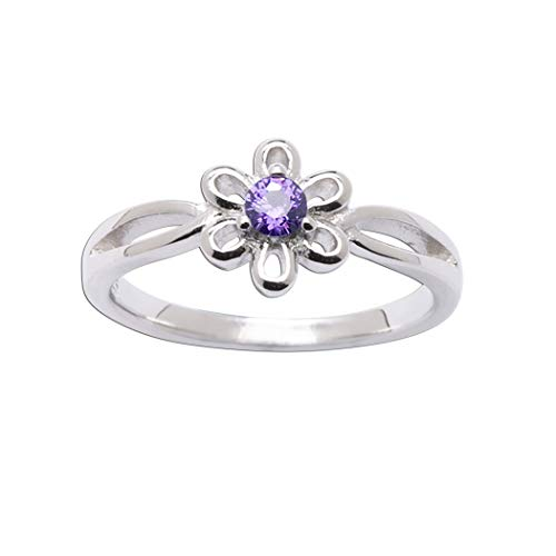 Sterling Silver February CZ Simulated Birthstone Baby Ring with Daisy Flower