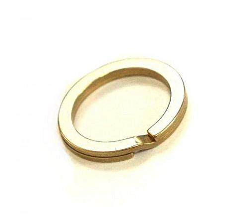 WellieSTR 5PCS 1-1/8'' SOLID BRASS FLAT SPLIT KEY RING Chain Hook ()