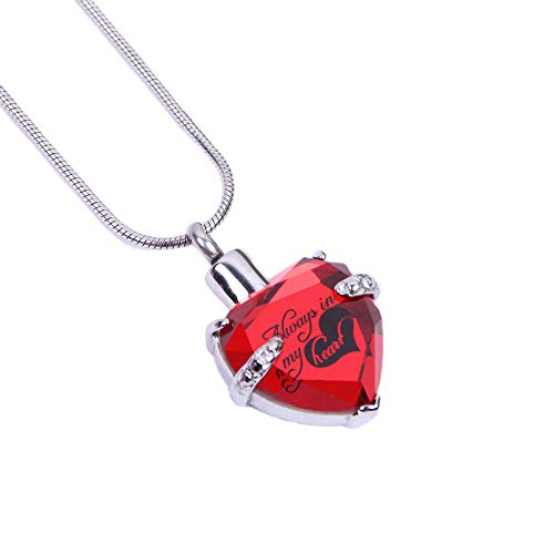 Always in My Heart Glass Heart Keepsake Urn Necklace Cremation Jewelry for Ashes +Snake Chain (D-Red) ()