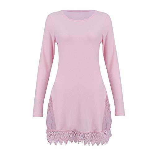 Lunga Donna Bluestercool Eleganti Manica Rosa Camicetta Bluse xnRfBIRv