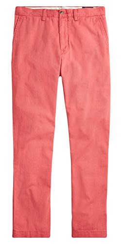 Mens Embroidered Pants - RALPH LAUREN Polo Men's Classic Fit Cotton Chino Pants, Nantucket Red (40x32)