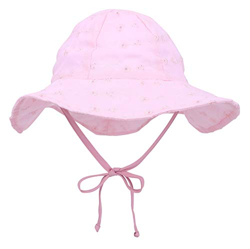 SimpliKids UPF 50+ UV Ray Sun Protection Wide Brim Baby Sun Hat (0-12 Months, Pink ()