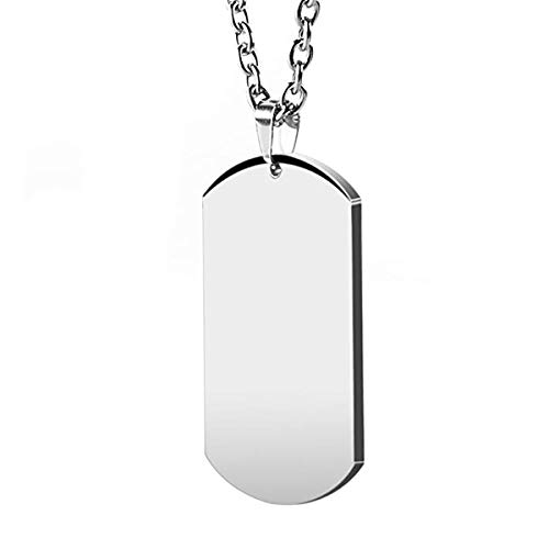 HZMAN Men's High Polished Stainless Steel Silver Dog Tag Pendant Necklace 22 Inches Chain]()