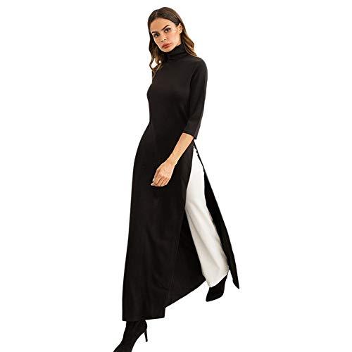 Les Femmes D'automne Diamondo Casual Manches 3/4 Robe En Maille Couleur Unie Haute Vêtements Fractionnés