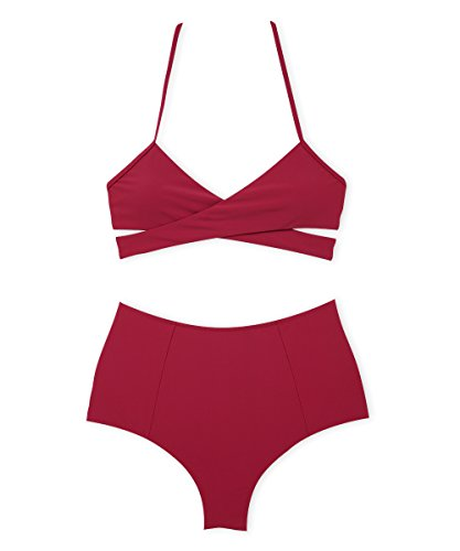 SWIMANDTAN Halter High Waist Bikini, V Neck Front Cross Swimsuit For Women
