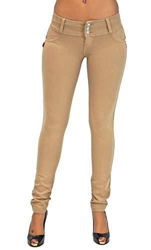 Premium Stretch Cotton Butt lifting, Levanta Cola, Skinny Leg Premium French Terry Fashion Moleton in Beige Size M