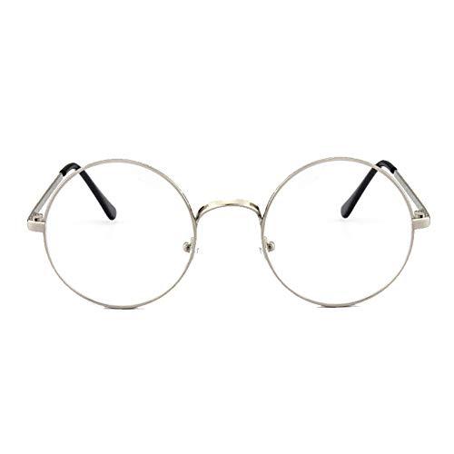 HugeStore Retro Round Metalic Frame Glasses Clear Lens Aviator Eyeglasses Readers Eyewear Silver