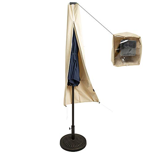 C-Hopetree Storage Cover for 7-11ft Solar LED Light Outdoor Patio Umbrella - Beige