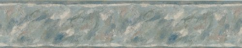 Brewster 418B167 Borders and More Abstract Brushstroke Wall Border, 5.125-Inch by 180-Inch, Blue