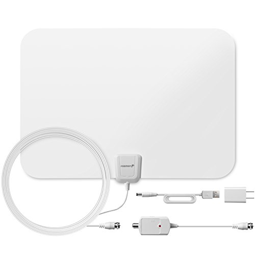 60 Miles HDTV Antenna, Fosmon Indoor Ultra Thin HDTV Antenna with Built-in Amplifier Signal Booster and High Signal Capture of 16.4ft Coaxial Cable (White)