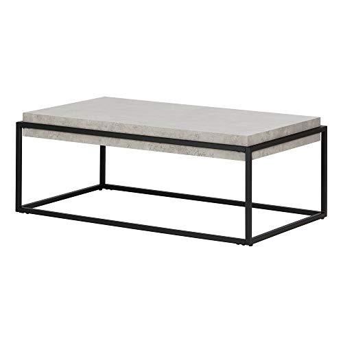 South Shore 12066 Mezzy Industrial Coffee Table, Concrete Gray and Black