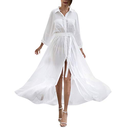CCOOfhhc Women Dresses Casual Solid Long Sleeve Slit Up Maxi Dress Button Down Shirts Flowy Beach Party Long Dress with Belt White