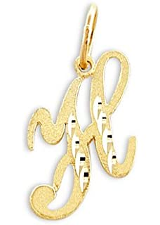cursive h initial charm 14k yellow gold letter pendant solid