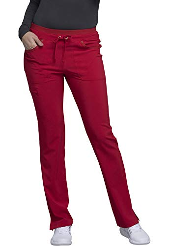 CHEROKEE iflex Mid Rise Tapered Leg Drawstring Pants, CK010, M, Red