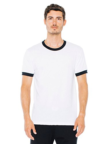 American Apparel Men's Poly-Cotton Short Sleeve Ringer T-Shirt, White/Black, Medium