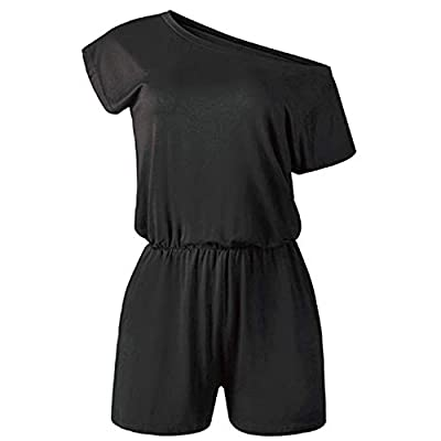 Rolimaka Women's Summer Off Shoulder Rompers and Jumpsuits Casual Cotton Elastic Waist with Pockets Playsuit Jumper for Women: Clothing