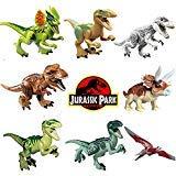 8pcs/lot Dinosaur DIY Assembly Building Blocks Toys Jurassic World Bricks Gift -