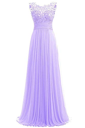 JINGDRESS Women Beaded Sparkly Bridesmaid Dresses Sleeveless Chiffon Long Evening Cocktail Dresses with Pleats Lavender