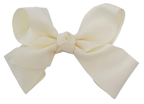 Beautiful Handmade Variety of Bright Colors Grosgrain Ribbon Bows with Alligator Clip (Ivory)