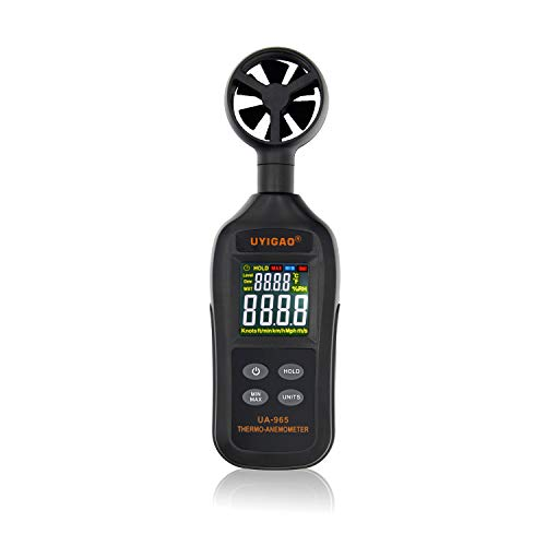 BDMETER Digital LCD Anemometer Wind Speed Meter, Temperature Air Flow Velocity Measurement Thermometer with Backlight for Windsurfing Kite Flying Sailing Surfing Fishing