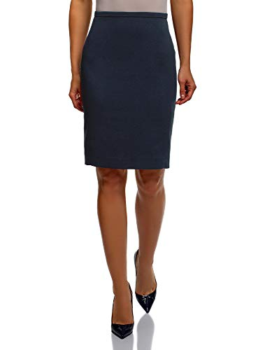 oodji Collection Femme Jupe Droite Basique Bleu (7900n)