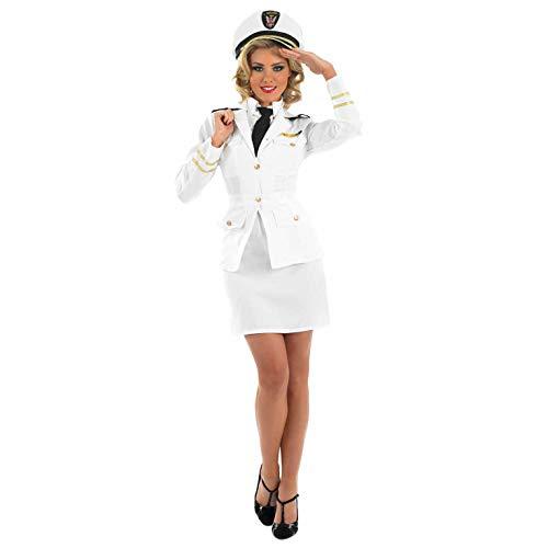 Sailor Captain Halloween Costume (fun shack Womens Navy Captain Costume Adults Naval Officer Uniform Suit -)