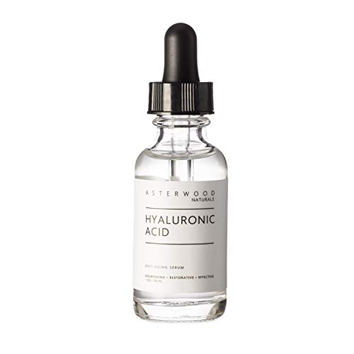 Hyaluronic Acid Serum 1 oz - 100% Pure Organic HA - Anti Aging Anti Wrinkle - Original Face Moisturizer for Dry Skin & Fine Lines - Leaves Skin Full & Plump ASTERWOOD NATURALS Dropper Bottle